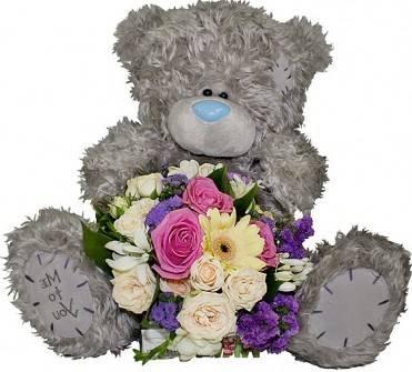 фотография цветы и мишка Тедди.