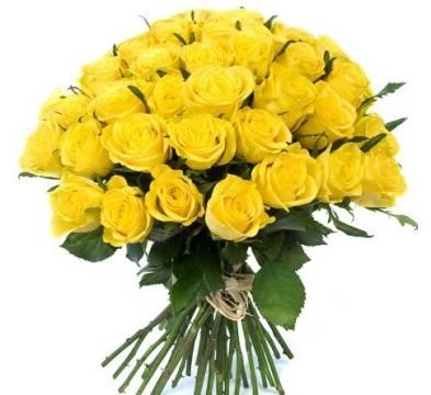 букет из 51 розы, фото 51 желтой розы в букете
