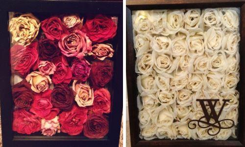 Картины из высушенных роз на фото