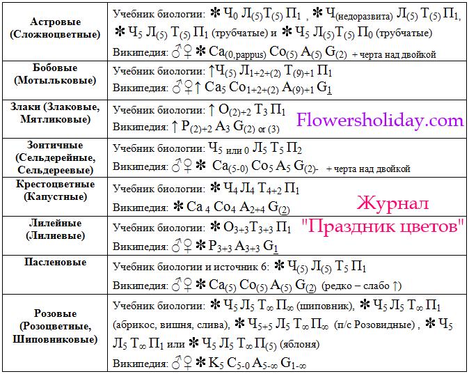 таблица с формулами цветка популярных семейств